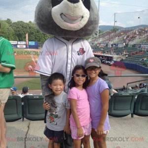 Waschbärenmaskottchen schwarz weiß und grau - Redbrokoly.com