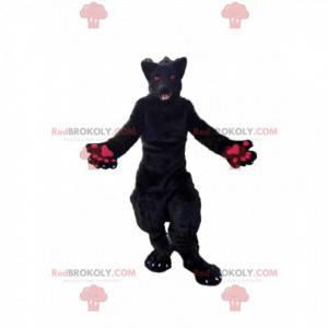 Černý a růžový maskot vlka, kostým psa plyšového vlka -