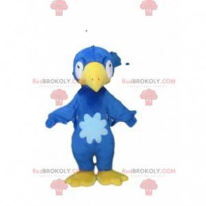 Blaues und gelbes Vogelmaskottchen, Plüschvogelkostüm -