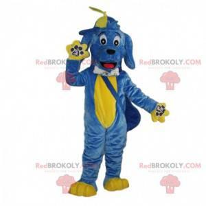 Blaues und gelbes Hundemaskottchen, buntes Hundekostüm -
