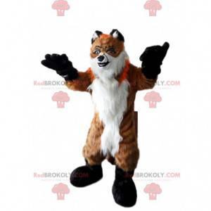 Maskot chlupatá liška, oranžová a bílá, lesní kostým -