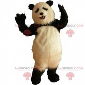 Very realistic panda mascot, hairy panda costume -