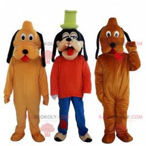 Goofy Maskottchen und 2 Pluto Maskottchen, Disney Charaktere -