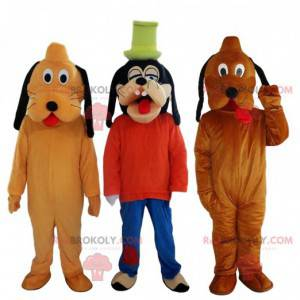 Mascota de Goofy y 2 mascotas de Plutón, personajes de Disney -