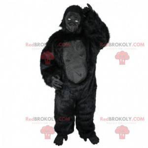 Mascote de gorila preto, fantasia de grande macaco preto -