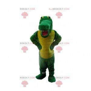 Zielony i żółty krokodyl maskotka, kostium aligatora -