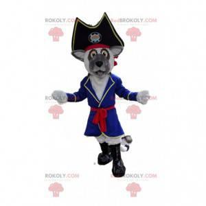 Szary pies maskotka pirat, kostium psa pirata - Redbrokoly.com