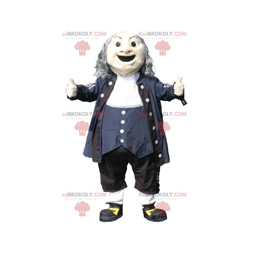 Maskottchen alter Mann im schwarzblauen und weißen Outfit -