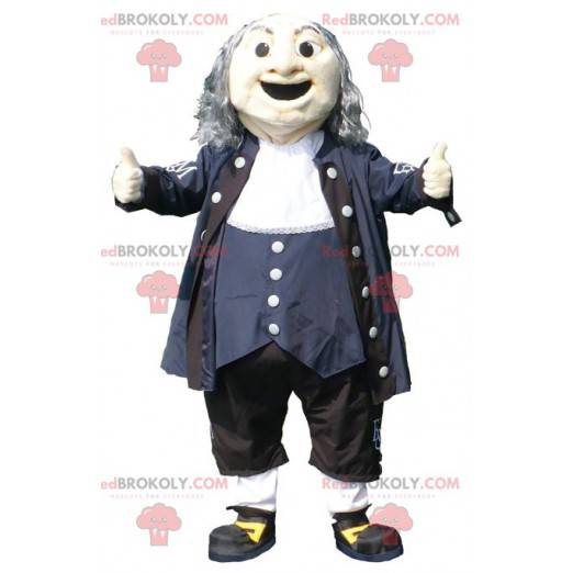 Mascot old man in black blue and white outfit - Redbrokoly.com