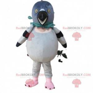 Mascot white and gray pigeon, giant bird costume -