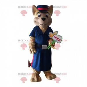 Dog mascot in uniform, policeman costume, railway worker -