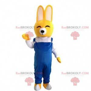 Żółty królik maskotka, żółty kostium z roześmianym powietrzem -
