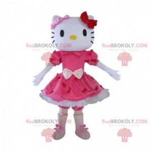 Hello Kitty maskot, berømt tegneseriekatt i kjole -