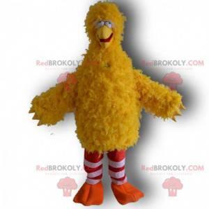 Maskot velký žlutý pták zábavný a šílený, žlutý kostým -