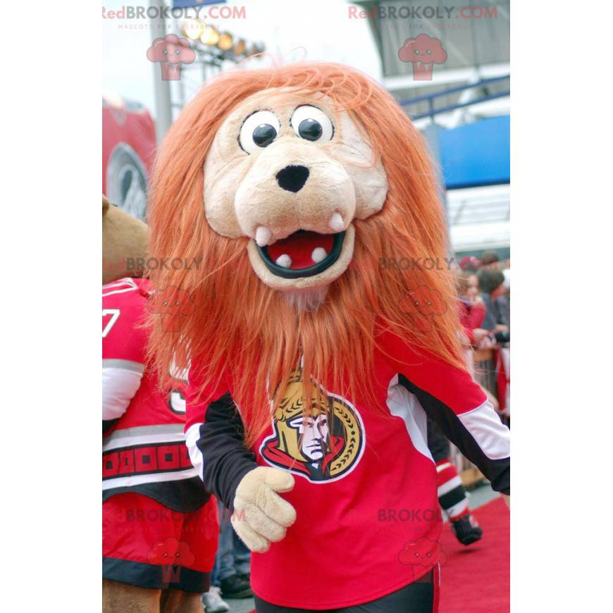 Béžový maskot lva s velkou oranžovou hřívou - Redbrokoly.com