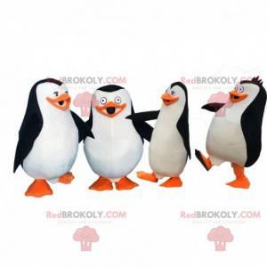 4 maskoti tučňáků z Madagaskaru, kreslené kostýmy -