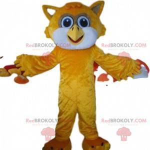Orange and white owl mascot, bird costume - Redbrokoly.com