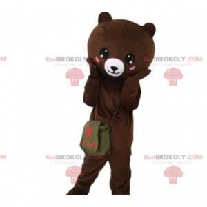 Bear mascot with hearts on cheeks, teddy bear costume -