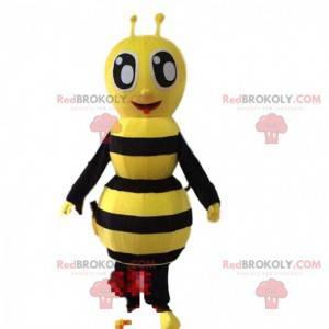 Žlutý a černý kostým včel, usmívající se vosí kostým -