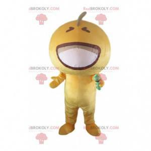 Microfoon mascotte gele handschoen, geel karakterkostuum -