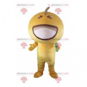 Mikrofon maskotka żółta rękawiczka, żółty kostium postaci -