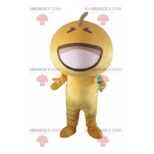 Microphone mascot yellow glove, yellow character costume -