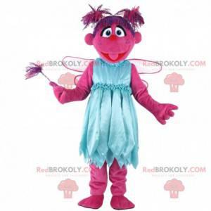 Mascotte de personnage rose, costume de créature rose -