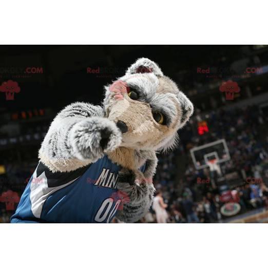 Šedý a hnědý vlk maskot všechny chlupaté - Redbrokoly.com