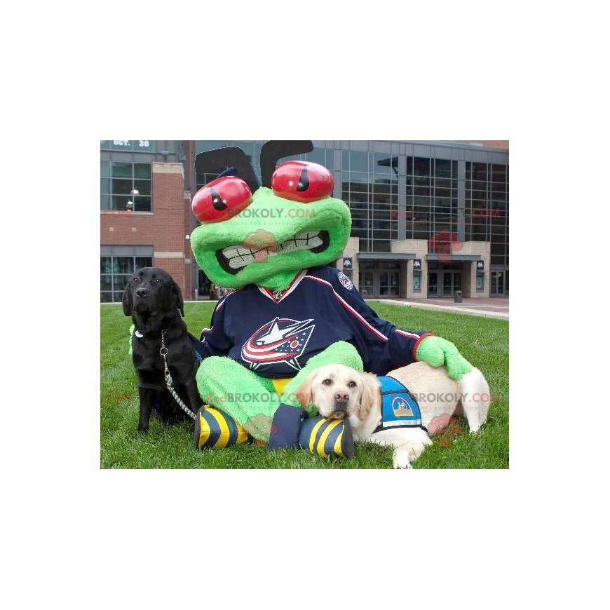 Green frog mascot with red eyes - Redbrokoly.com