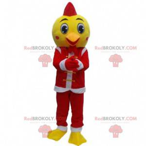 Žlutý pták maskot oblečený jako Santa Claus, vánoční kostým -