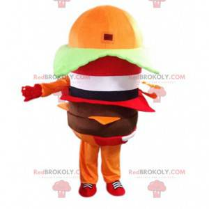 Oransje hamburger maskot, hamburger kostyme - Redbrokoly.com