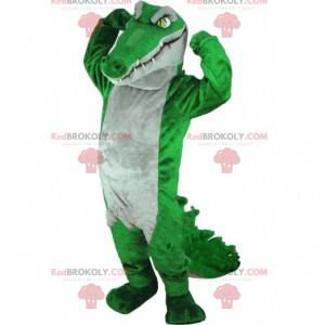Zelený a šedý maskot krokodýla, obří aligátorský kostým -