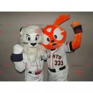 2 maskoti: bílý lev a oranžový králík - Redbrokoly.com