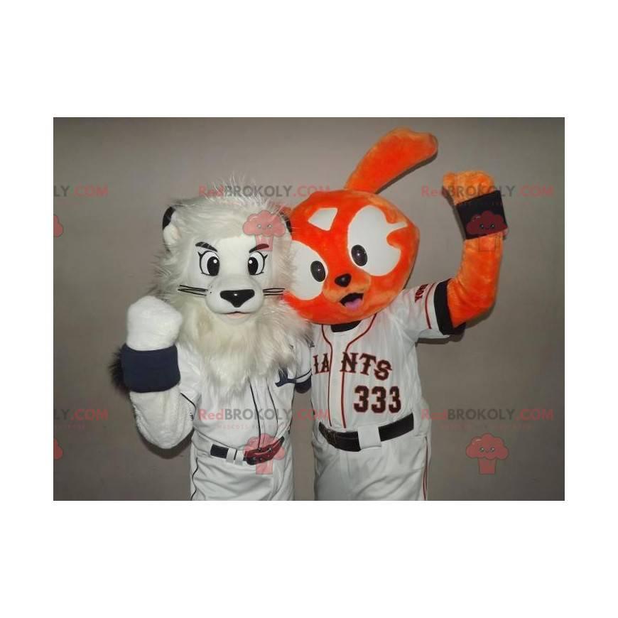 2 mascots: a white lion and an orange rabbit - Redbrokoly.com