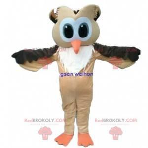 Braunes und weißes Eulenmaskottchen mit großen Augen -