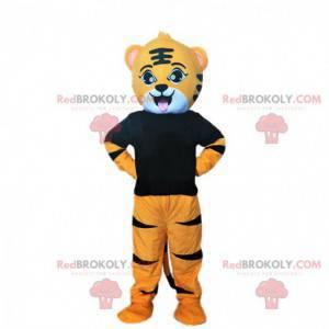 Maskot mladý oranžový a černý tygr, kočičí kostým -
