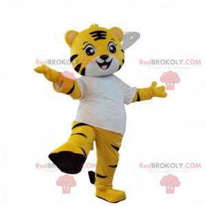 Mascot small yellow tiger, black and white, feline costume -