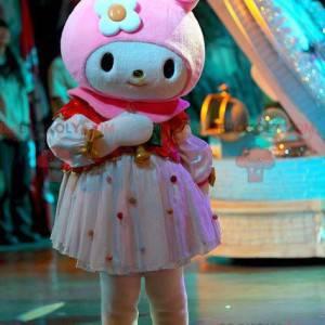 Very feminine white and pink rabbit mascot - Redbrokoly.com