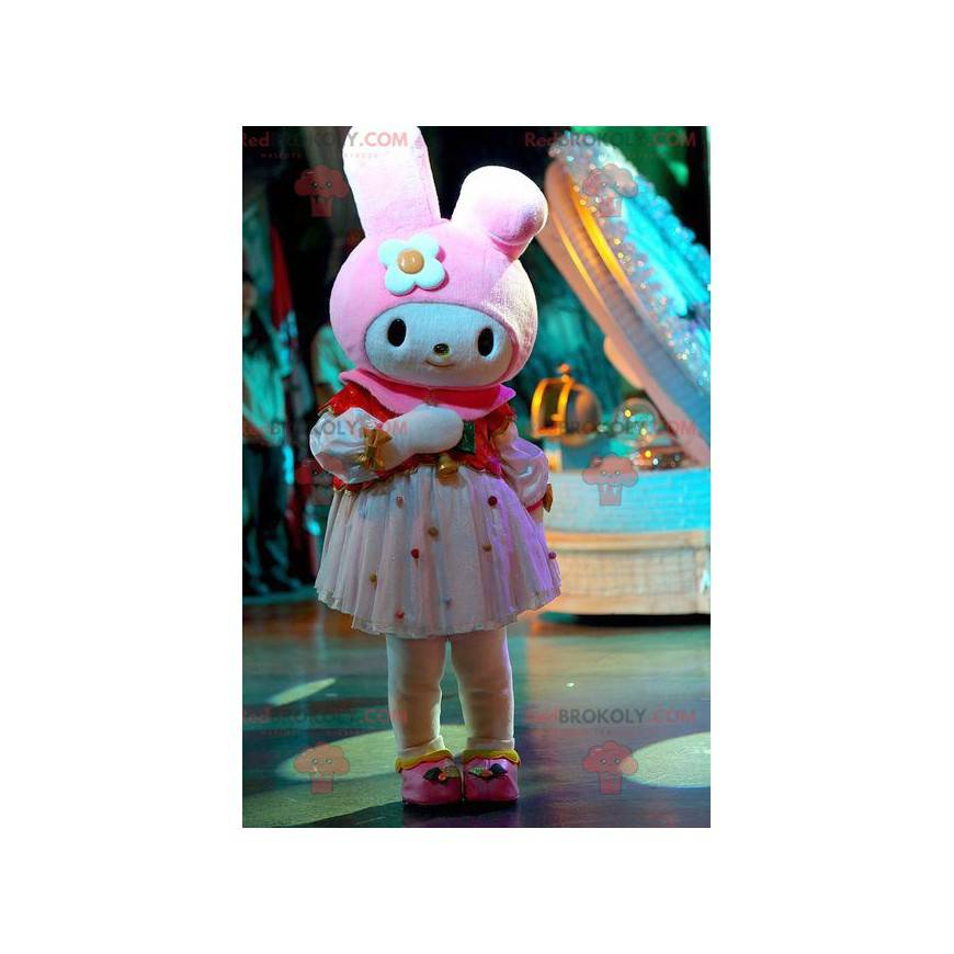 Velmi ženský maskot bílého a růžového králíka - Redbrokoly.com