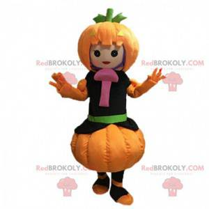 Maskot dívka oblečená jako dýně s houbami - Redbrokoly.com