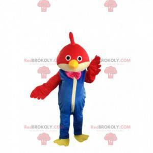 Czerwony ptak maskotka z kombinacją, kostium ptaka -