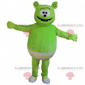 Green monster mascot with underpants, green creature costume -