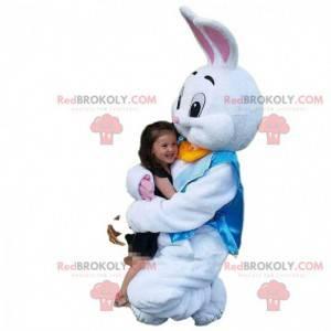 White rabbit costume with a blue vest, rabbit costume -