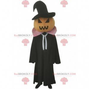 Mascota de calabaza con capa negra, disfraz de Halloween -