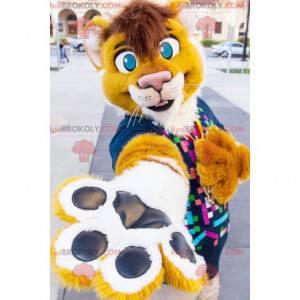 Žlutý a bílý tygr lev maskot - Redbrokoly.com