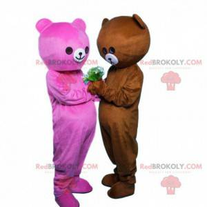 2 bear mascots, one pink and one brown, couple of teddy bears -