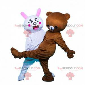 2 mascots, a white rabbit and a brown teddy bear -