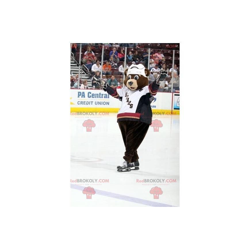 Brown bear mascot in hockey gear - Redbrokoly.com