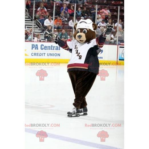 Maskot medvěd hnědý v hokejové výstroji - Redbrokoly.com