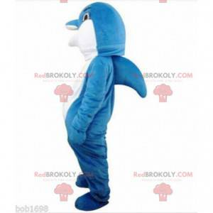 Maskottchen blauer und weißer Delphin, vollständig anpassbar -